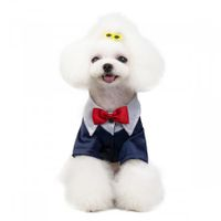 Pet stylish suit bow tie costume L