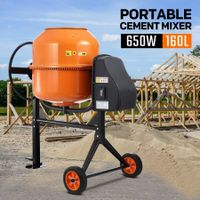 160L Portable Cement Mixer w/ Waterproof Power Motor for Concrete Stucco Mortar