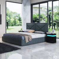 Modern Grey Fabric Storage Bed Frame - Double