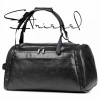 Gym PU leather Duffle Bag Waterproof Sports Travel Weekender Bag Overnight Bag with Shoes Compartment Co. Black
