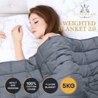 Luxdream 7 Layer Calming Weighted Blanket 100% Cotton Cover for Adults 152x203cm 5kg
