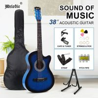 Melodic 38???Inch Wooden Folk Acoustic Guitar Classical Full Size Cutaway Full set Blue