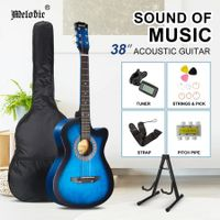Melodic 38 Inch Wooden Folk Acoustic Guitar Classical Full Size Cutaway Full set Blue