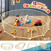12 Panel Large Baby Child Safety Natural Wood Playpen Indoor Outdoor Play Centre