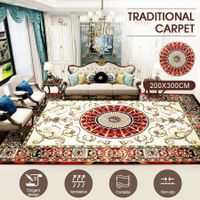 2x3m Soft Floor Area Rug Royal Red Traditional Carpet Anti-slip Mat Living Room Bedroom