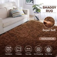 Brown 1.6x2.3m Fluffy Shaggy Rug Carpet Soft Area Rug Anti-slip Floor Mat Living Room Bedroom