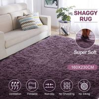 Grey Purple 1.6x2.3m Fluffy Shaggy Rug Carpet Soft Area Rug Anti-slip Floor Mat Bedroom