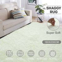 Creamy White 1.6x2.3m Fluffy Shaggy Rug Carpet Soft Area Rug Anti-slip Floor Mat Bedroom