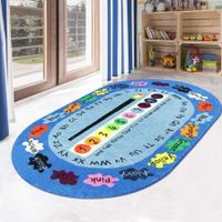 Play Rug Faux Wool Kids  Non-Slip  ABC Number and Color Educational Learning  Game Decor Living Room Bedroom Playroom Nursery Best Shower Gift 150x200cm