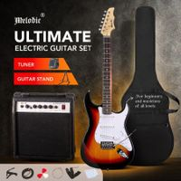"Melodic 39"" Full-Size Electric Guitar w/ 25W Rock Amplifier Guitar Stand Beginner Accessory Kit"