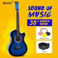 "Melodic 38"" Inch Folk Dreadnought Acoustic Guitar Pack Classical Cutaway Blue"