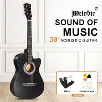 "Melodic 38"" Inch Folk Dreadnought Acoustic Guitar Pack Classical Cutaway Black"