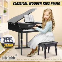 Melodic 30-Key Children Kids Grand Piano Wood Toy w/ Bench Music Stand-Black