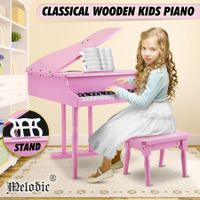 Melodic 30-Key Children Kids Grand Piano Wood Toy w/ Bench Music Stand-Pink