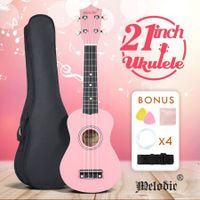 "Melodic 21"" Soprano Ukulele Bundle 4 Strings Musical Instrument w/ Gig Bag Pink"