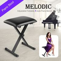 Melodic X Style Adjustable Padded Keyboard Bench Stool Folding Padded Piano Seat