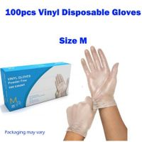 100Pcs Disposable Clear Vinyl Gloves Powder Free Gloves Size M