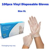 100Pcs Disposable Clear Vinyl Gloves Powder Free Gloves Size XL