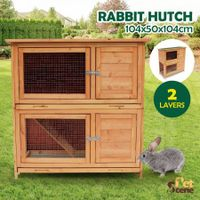 Petscene Large 2-Level Rabbit Hutch Wooden Chicken Coop Guinea Pigs Ferret House