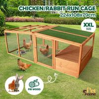 Petscene XXL Walk-in Chicken Coop Cage Rabbit Hutch Ferret Poultry Enclosure with Spacious Run