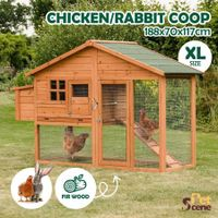 Petscene Wooden Rabbit Hutch Cage XL Guinea Pig Chicken Coop Run House with Nesting Box