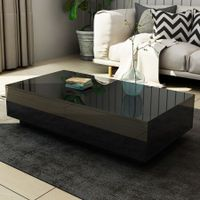 New 4 Drawer Coffee Table Wood Living Room Furniture High Gloss Black