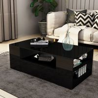 New 2 Drawer Coffee Table Storage Shelf High Gloss Black