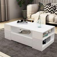 New 2 Drawer Coffee Table Storage Shelf High Gloss White