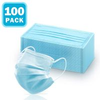 100 Pcs 3 Layers Disposable Face Mask Medical Earloop Mask 3-Ply Soft Breathable Dust Filter Mask