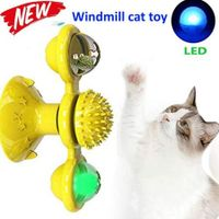 Windmill Cat Toy,Interactive Turntable Teasing Cat Toy with Led Ball Col.Yellow
