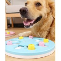 Dog Cat Pet Puzzle Toys Puppy Treat Dispenser Increase IQ Interactive Feeder Col Lt.Blue