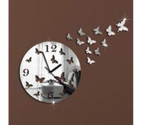 DIY Silver Mirror Clock Butterfly Wall Sticker Decal Movement Clock Decorations