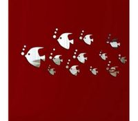 DIY Silver Modern Mirror Wall Sticker Fish Wall Decal Home Decorations