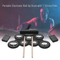 Roll-Up Silicon Drum Set Digital Electronic Drum Kit 7 Drum Pads with Drumsticks Foot Pedals for Beginners