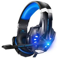 G9 Stereo Gaming Headset for PS4, PC, Xbox One Controller, Noise Cancelling Over Ear Headphones with Mic, LED Light, Bass Surround, Soft Memory Earmuffs for Laptop Mac Nintendo Switch Games