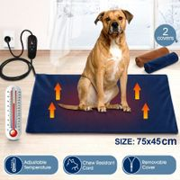 New Petscene 75x45cm Extra Large Heated Dog Cat Pad Electric Pet Heating Bed Mat w/ Thermal Protection