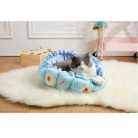 Pumpkin Nest Kennel Adjustable PP Cotton Cat Dog Bed 70x70cm Col.Sky blue