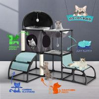 Petscene Cat Tree Furniture Cat Tower Kit Hammock Scratching Posts Climbing Activity Center