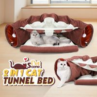 Petscene Pet Dog Cat Tunnel Bed Soft Cat Bed Mat Hanging Play Toys Activity Center Brown