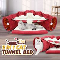 Petscene Pet Dog Cat Tunnel Bed Soft Cat Bed Mat Hanging Play Toys Activity Center Red