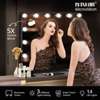 Maxkon 14 LED Lights Hollywood Style Makeup Mirror Touch Control Vanity Mirror Black