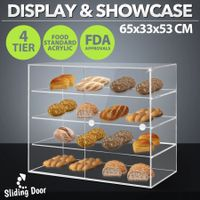 New 4-Tier Large Acrylic Bakery Cake Display Cabinet Donuts Cupcake Pastries 5mm Thick