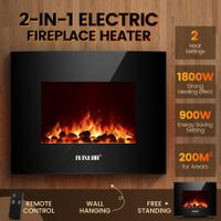 MAXKON Wall Mounted 1800W Electric Fireplace Heater LED Flames w/ Remote Control