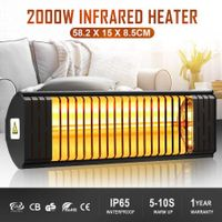 Maxkon Electric Infrared Heater 2000W Outdoor Patio Halogen Heater Freestanding Wall Mount Ceiling