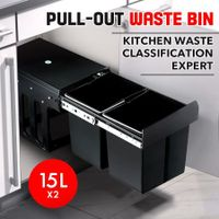 2x 15L Pull Out Trash Bin Dual Kitchen Garbage Waste Basket Cabinet Bin