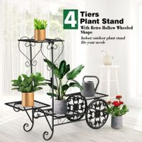 Metal Plant Stand 4 Tier Flower Pot Stand Indoor Outdoor Planter Shelf Black