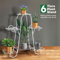 6 Tier Metal Plant Stand Flower Pot Stand Shelf for Garden Patio Balcony White