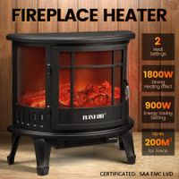 MAXKON Electric Fireplace Freestanding Stove Heater LED Flame Effect Log Fire 1800W