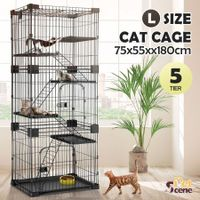 Petscene Large 5-Tier Wired Cat Cage House Pet Crate Hutch Kennel Playpen