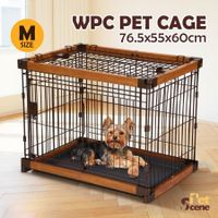 Petscene M Size Cat Dog Wire Crate Pet Cage Enclosure w/ WPC Frame